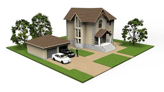 modern small house 3d model - Home 3d Model
