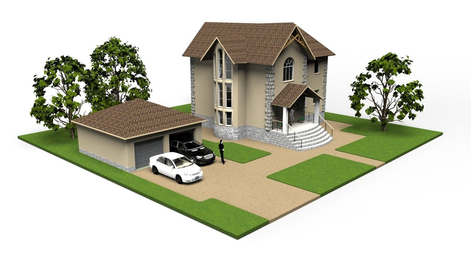 Modern Small House 3d Model 3ds 1 ...