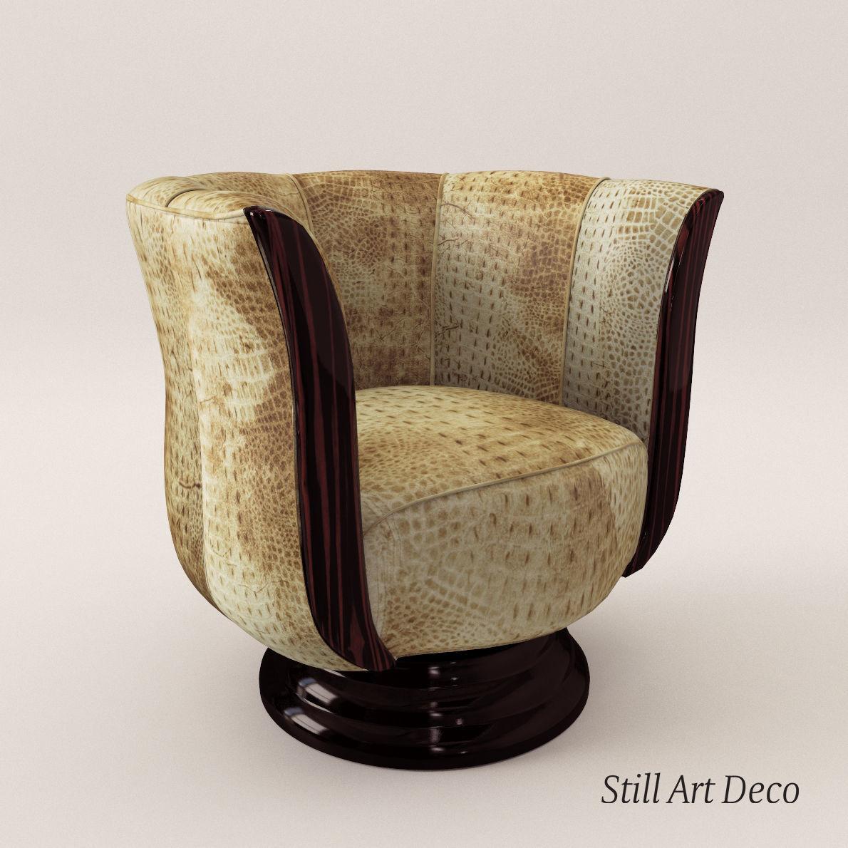 Art Deco Fauteuil.Rotaring Fauteuil Art Deco Style 3d Model