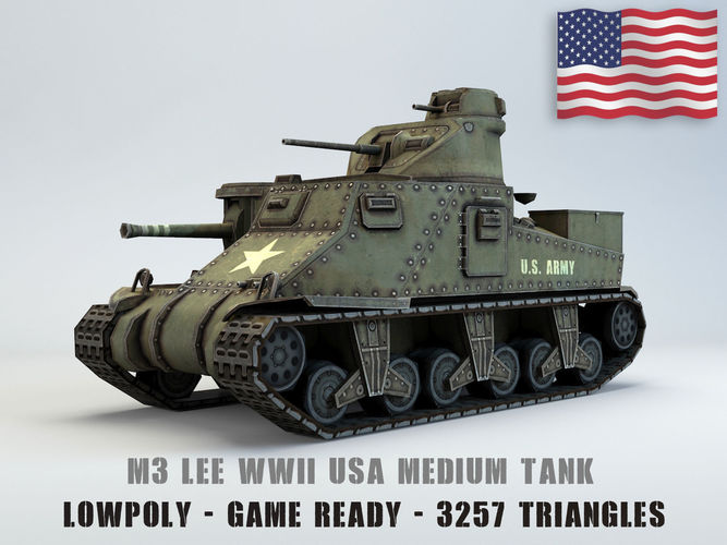3d Model Low Poly M3 Lee Medium Tank Cgtrader