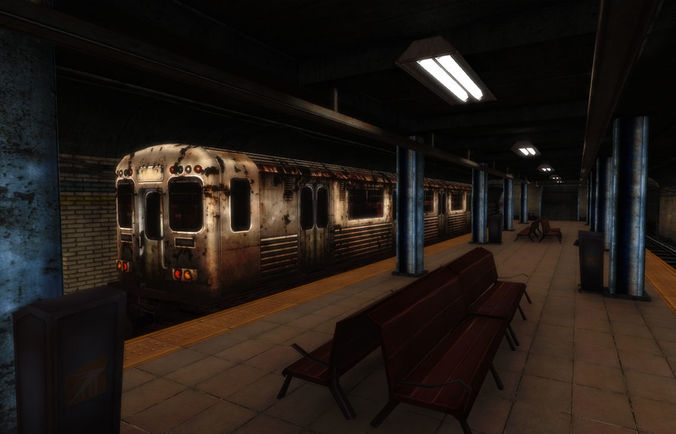 urban subway  3d model low-poly max obj mtl fbx ma mb tga unitypackage prefab 1