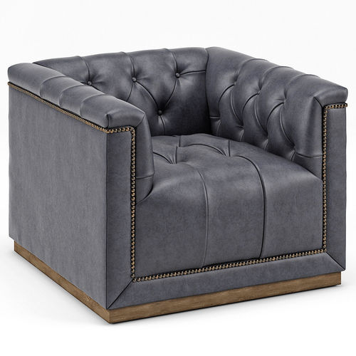 Emmy Rustic Lodge Black Leather Tufted Cube Armchair 3D model  sc 1 st  CGTrader & 3D model Emmy Rustic Lodge Black Leather Tufted Cube