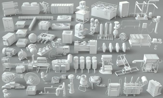 factory units-part-2 - 57 pieces 3d model max obj mtl fbx stl 1