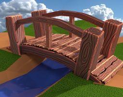 Cartoon Wooden Bridge 3D asset