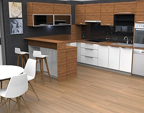 3D asset modern kitchen design with island