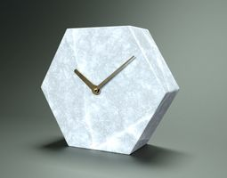 Polygonal Marble Clock 3D model low-poly