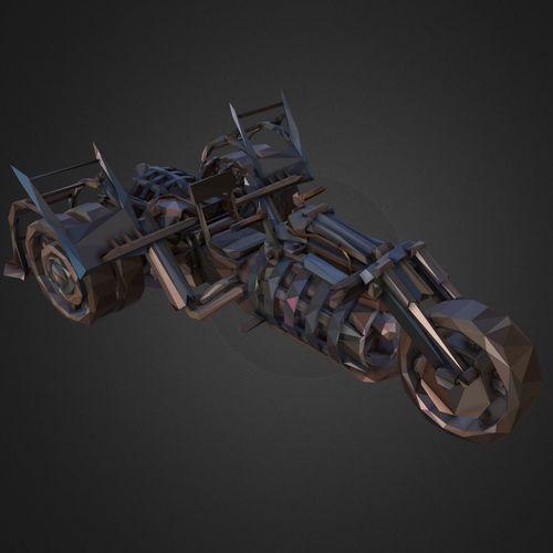 low polygon art steampunk treble bike 3d model max obj mtl 3ds fbx ma mb tga 1