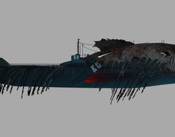 Submarine camouflaged with fish skin - Queen of 3D model