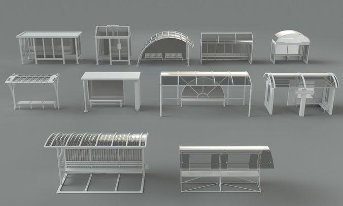 bus stations - 11 pieces 3d model max obj mtl fbx stl 1