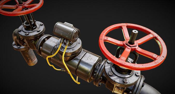 pbr modular pipes set 3d model max fbx 1