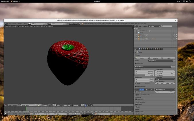 strawberry 3d model blend 1