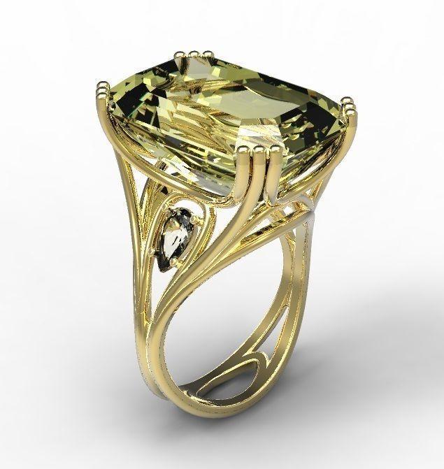 Ring gold citrine