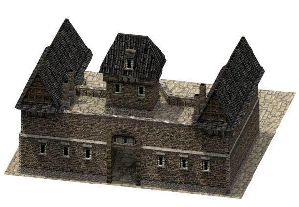 stone barracks 3d model low-poly obj mtl 3ds fbx blend dae tga 1