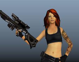 3D asset Soldier Girl