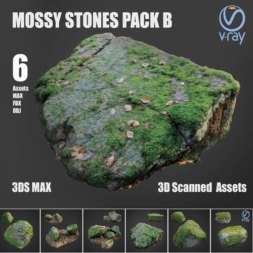 mossy stones bundle b 3d model low-poly max obj mtl fbx 1