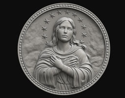 Mary Immaculate Medallion 3D print model