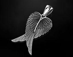 blackening 3D print model Angel wings pendant