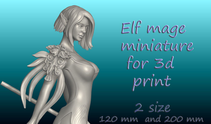 elf mage dnd miniature for 3d print 3d model obj mtl stl ztl wrl wrz 1