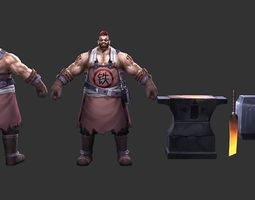 3D asset low-poly Blacksmith