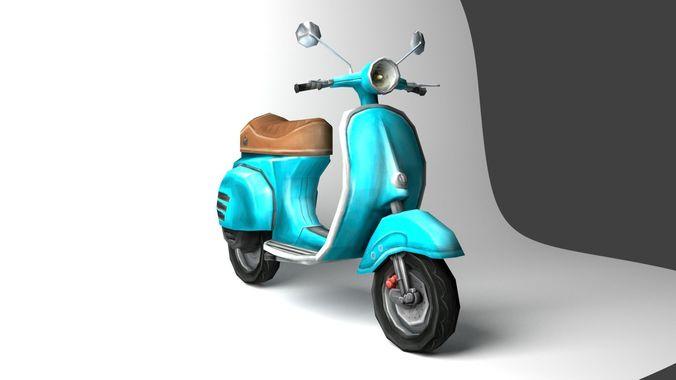 vespa-scooter 3d model low-poly obj mtl 3ds fbx stl dae ply 1