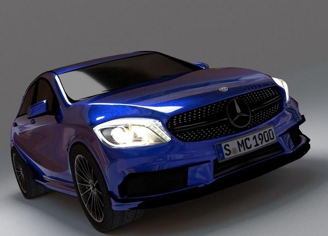 compact car 3d model low-poly obj mtl 3ds fbx stl dae ply 1