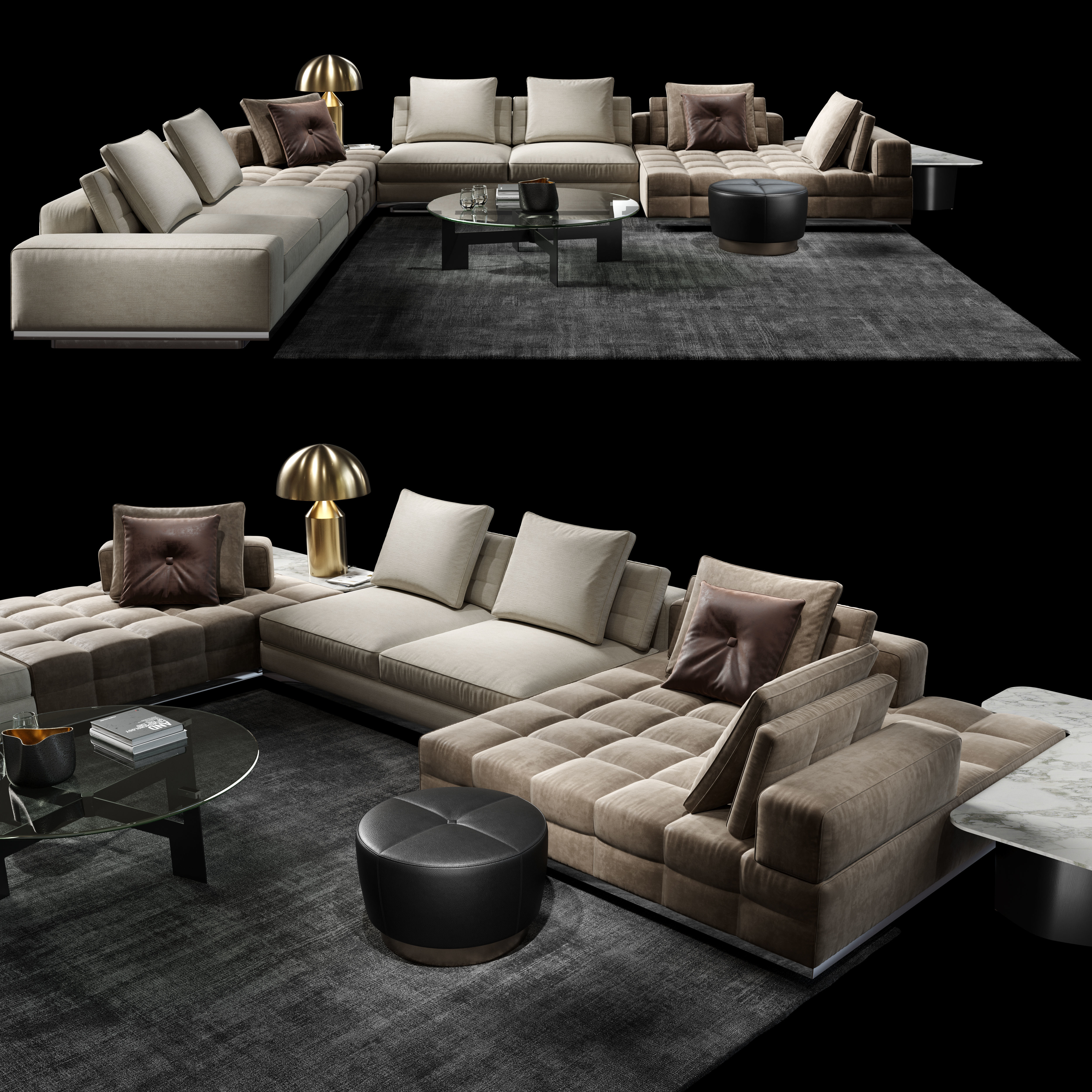 Minotti Lawrence Clan Living Room Sofa 3d Model