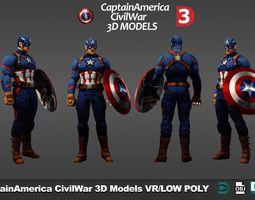 Superheroes Captain America pack v1 3D asset low-poly
