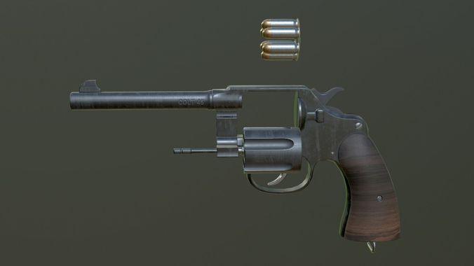 pistol m1917 3d model obj mtl 1