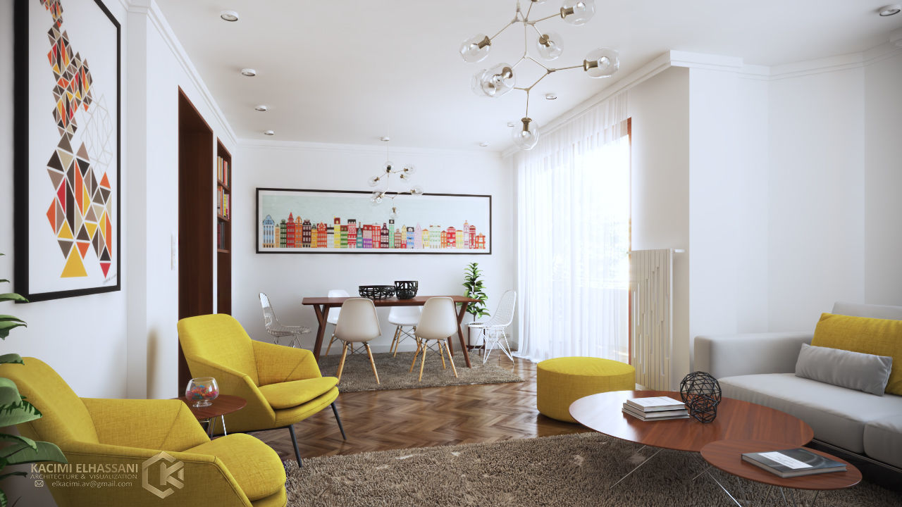 bathroom Optimistic Yellow Home interior design 3D