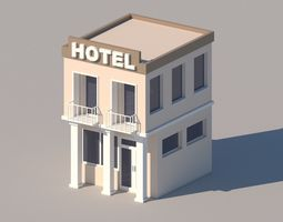 Cartoon Low Poly Hotel Building 3D model