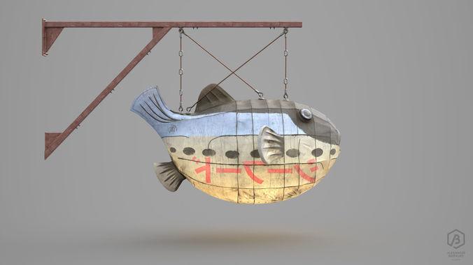 game ready japanese signs set fugu fish lantern 3d model max obj mtl fbx ma mb ztl spp 1