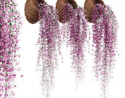 3D model Hanging plants in wicker pots v2