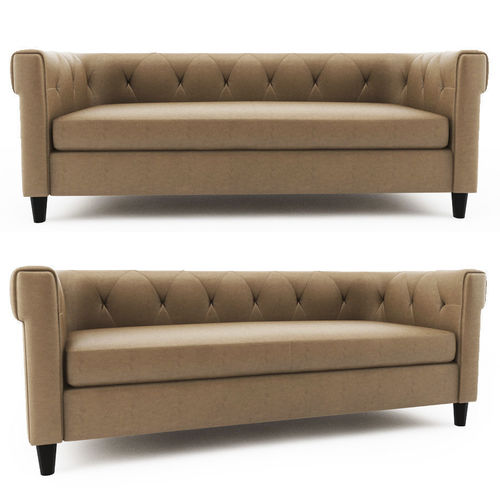 chester tufted leather sofa west elm 3d model max fbx 1
