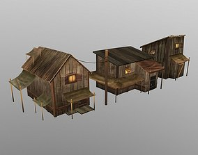 wood house 3D asset low-poly