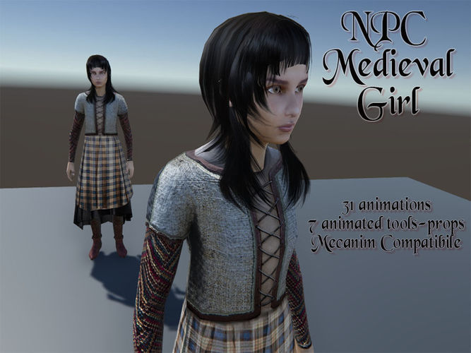 npc medieval girl 3d model low-poly rigged animated fbx tga unitypackage prefab 1
