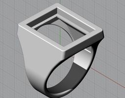 3D print model Mens Gemstone Signet Ring