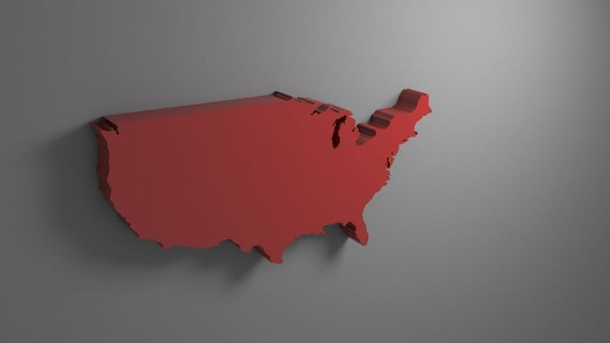 america map 3d model max obj mtl 3ds fbx stl 1