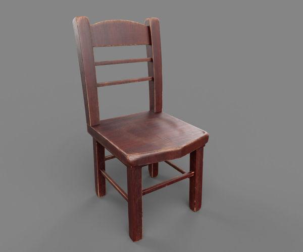 chair 3d model low-poly obj mtl 1