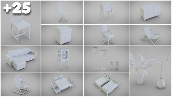 Basic Furniture Pack 3d Model Obj 3ds Fbx Stl Blend Mtl 1 ...