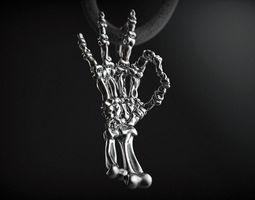Pendant skeleton hand ok rock 3D printable model