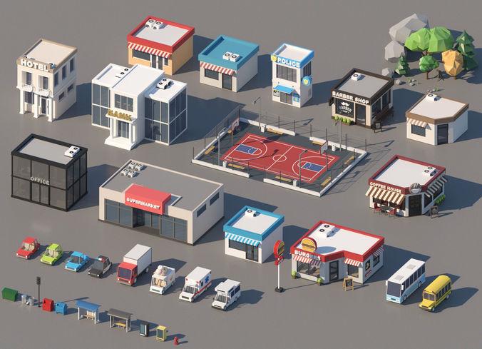 low poly city pack 3d model max obj mtl fbx 1