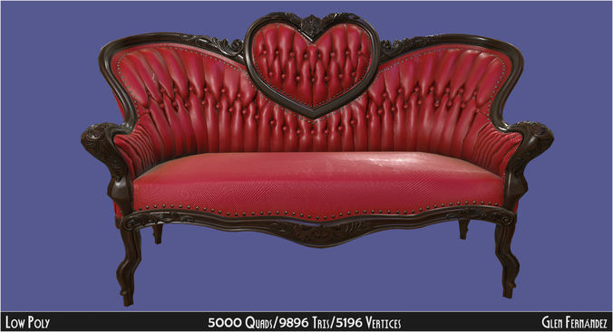 ... antique victorian love seat sofa furniture 3d model obj fbx ma mb mtl  unitypackage tbscene 5 ... - 3D Asset Antique Victorian Love Seat Sofa Furniture