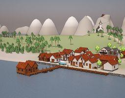 3D model Cartoon Medieval Village latrine