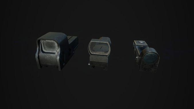 tactical sights pack 3d model obj fbx mtl 1