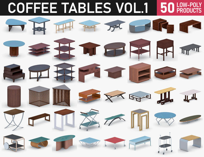 coffee table - vol 1 3d model max obj mtl 3ds fbx dae pdf 1