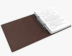 Leather ring binder opened 3D