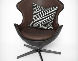 Upholstered Oval Armchair 3D