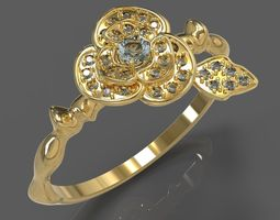 3D print model ring flower jewelry