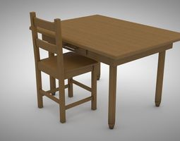 style 3D model Wood table and chair