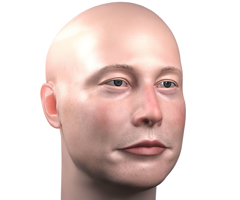 Elon Musk skin textured 3D portrait